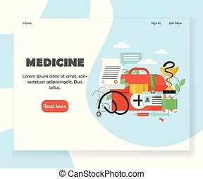 Medicine vector website landing page design template