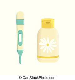Medicine with chamomile in plastic bottle and digital medical thermometer vector Illustration on a white background