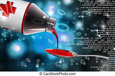 Medicine with spoon - Digital illustration of medicine with...