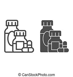 Medicines and capsules line and solid icon, Allergy concept, Allergy treatment sign on white background, Medicine bottles and pills icon in outline style for mobile and web design. Vector graphics.