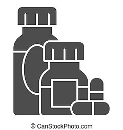 Medicines and capsules solid icon, Allergy concept, Allergy treatment sign on white background, Medicine bottles and pills icon in glyph style for mobile and web design. Vector graphics.