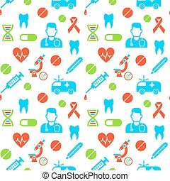 Medicines and medical science seamless background