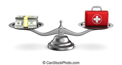 Medicines and money on scales. Isolated 3D illustration