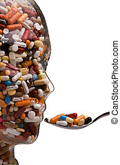 Medicines and tablets to cure disease - Glass tablets in...