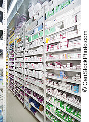 Medicines Arranged In Shelves At Drugstore
