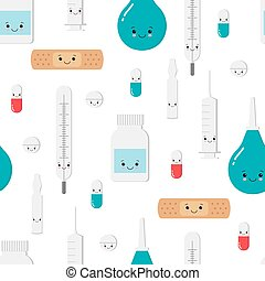 Medicines pattern with cute kawaii face and different emotions. Children hospital clip art, stickers. Isolated on white.