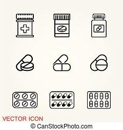 Medicines pills icon vector, flat illustration, isolated symbol