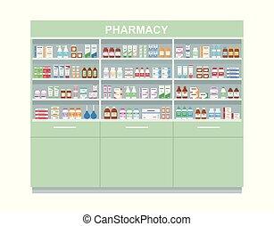 medicines., scaffale, fondo., bianco, farmacia, grande, isolato, mensole