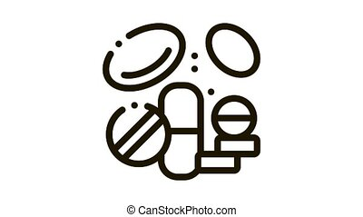 Medicines Supplements animated black icon on white background
