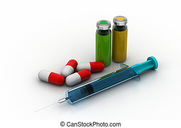 Medicines with syringe