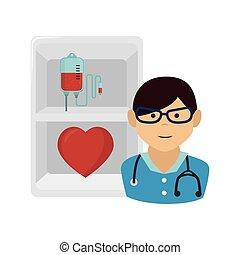 medicinsk, avatar, läkare