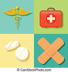medicinsk, bakgrund, sjukvård