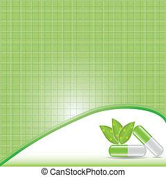 medicinsk behandling, alternativ, concept., grön