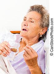 medicinsk behandling, givet, till, äldre