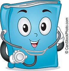 medicinsk, bok, maskot