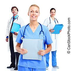 medicinsk, doktorer, group.