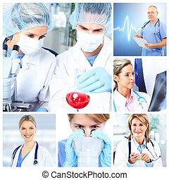 medicinsk, doktorer, ind, en, laboratory., collage.