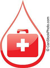 medicinsk, droppe, blod, röd