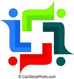 &, medicinsk, folk, kors, vektor, logo, design.