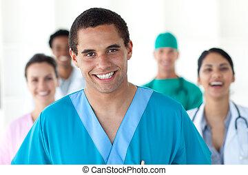 medicinsk, folk, visande, mångfald