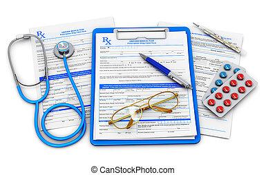 medicinsk forsikring, og, healthcare, begreb