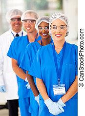 medicinsk, forskare, lag, in, labb
