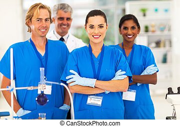 medicinsk, forskere, ind, laboratorium.