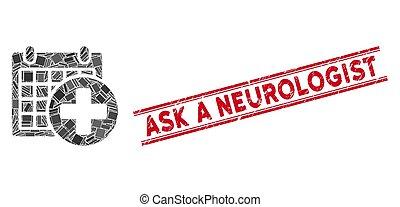 medicinsk, fråga, mosaik, watermark, neurologen, möte, grunge, fodrar