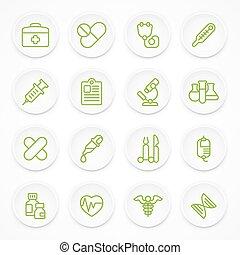 medicinsk, grön, runda, ikonen