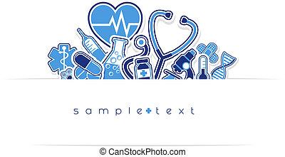 medicinsk, hed, design, omsorg