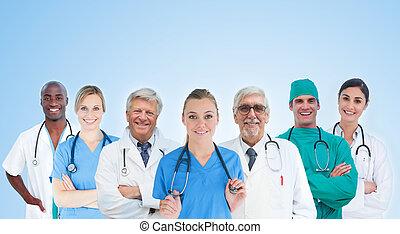 medicinsk hold, stå ind linje, på, bl.