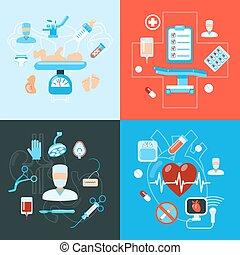 medicinsk, kirurgi, design, ikonen, begrepp