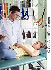 medicinsk, konsultation, hos, fysioterapi, klinik