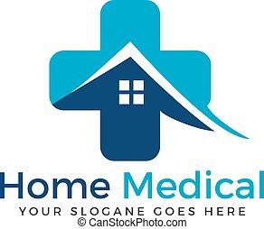 medicinsk, kors, vektor, hem, logo, design.
