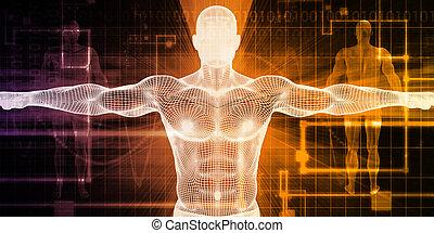 medicinsk, krop, teknologi