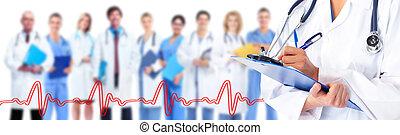 medicinsk, läkare., räcker