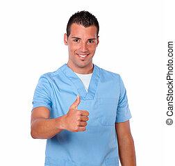 medicinsk mand, godke, tommelfinger, unge