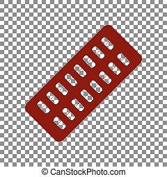 medicinsk, maroon, pillerne, baggrund., tegn., transparent, ikon