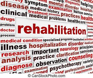 medicinsk, meddelande, rehabilitering