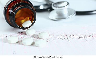 medicinsk, medicin, stetoskop, och, biljard, ., hälsa...