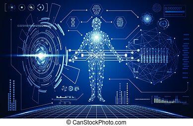 medicinsk, menneske, grænseflade, abstrakt, teknologi, ...
