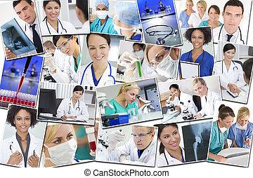 medicinsk, montage, doktorn, sköterskan, forska, &, sjukhus