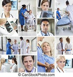 medicinsk, montage, patienter, doktorer, og, sygeplejersker, hospitalet