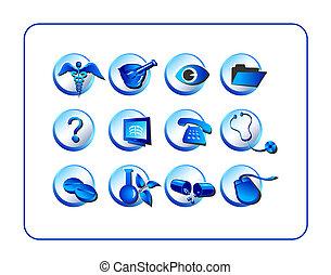 medicinsk, og, apotek, ikon, sæt, blå