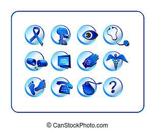 medicinsk, og, apotek, ikon, sæt, -, blå