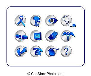 medicinsk, og, apotek, ikon, sæt, -, blue-silver