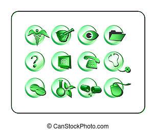 medicinsk, og, apotek, ikon, sæt, grønne