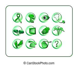 medicinsk, og, apotek, ikon, sæt, -, grønne