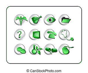 medicinsk, og, apotek, ikon, sæt, -, green-silver
