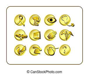 medicinsk, og, apotek, ikon, sæt, -, gylden
